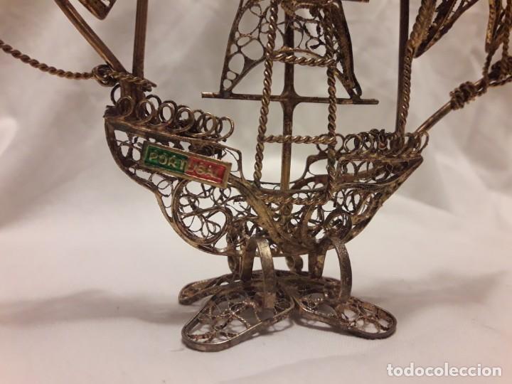 Antigüedades: Carabela Portuguesa en Filigrana de latón dorado y velas de esmalte. - Foto 2 - 139483610