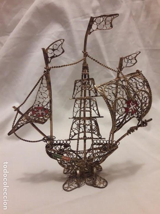 Antigüedades: Carabela Portuguesa en Filigrana de latón dorado y velas de esmalte. - Foto 7 - 139483610