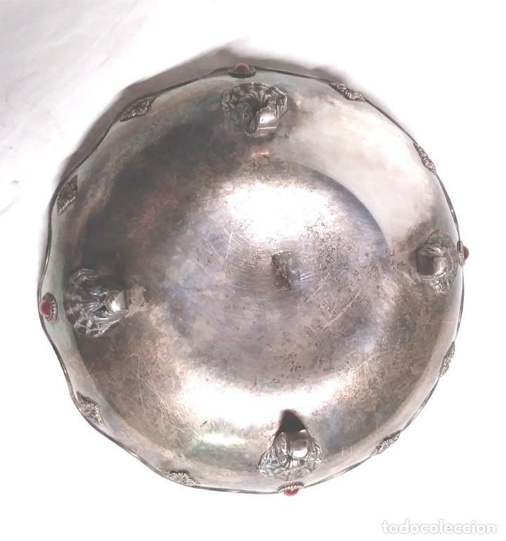 Antigüedades: Bandeja baño de Plata, con pedreria, buen estado. Med. 26 x 9 cm - Foto 2 - 139492002