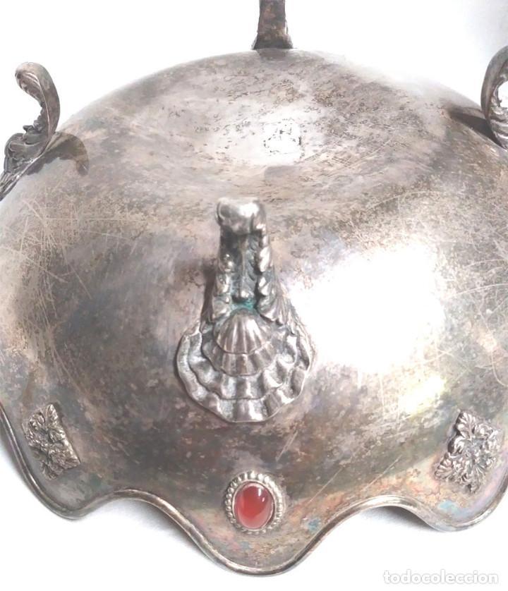 Antigüedades: Bandeja baño de Plata, con pedreria, buen estado. Med. 26 x 9 cm - Foto 4 - 139492002