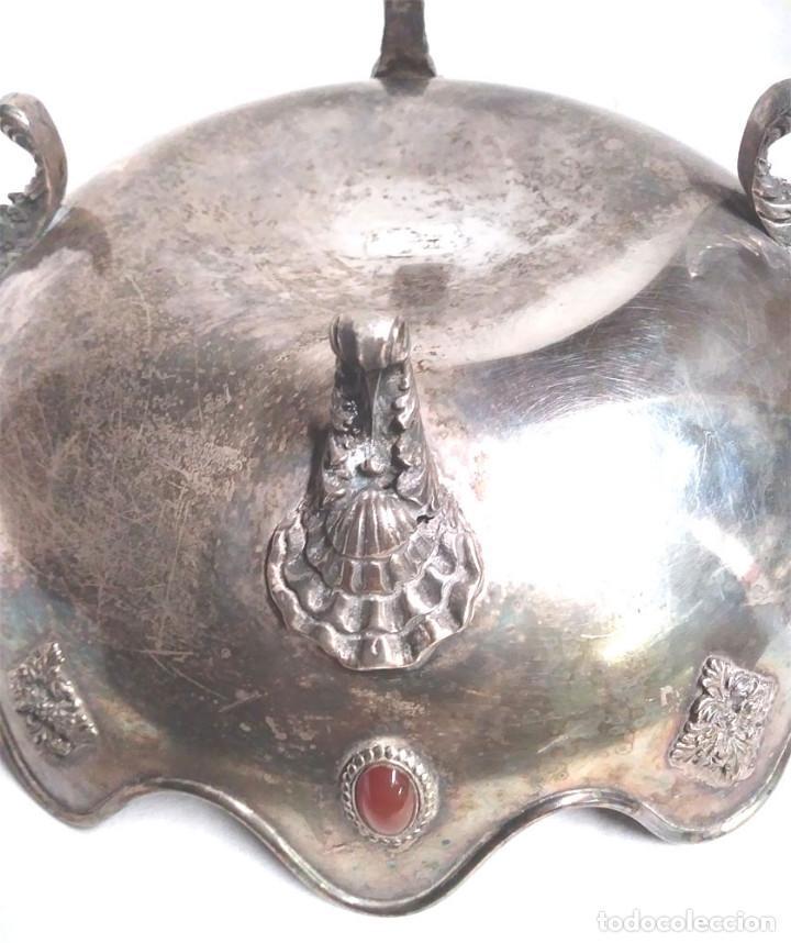 Antigüedades: Bandeja baño de Plata, con pedreria, buen estado. Med. 26 x 9 cm - Foto 5 - 139492002