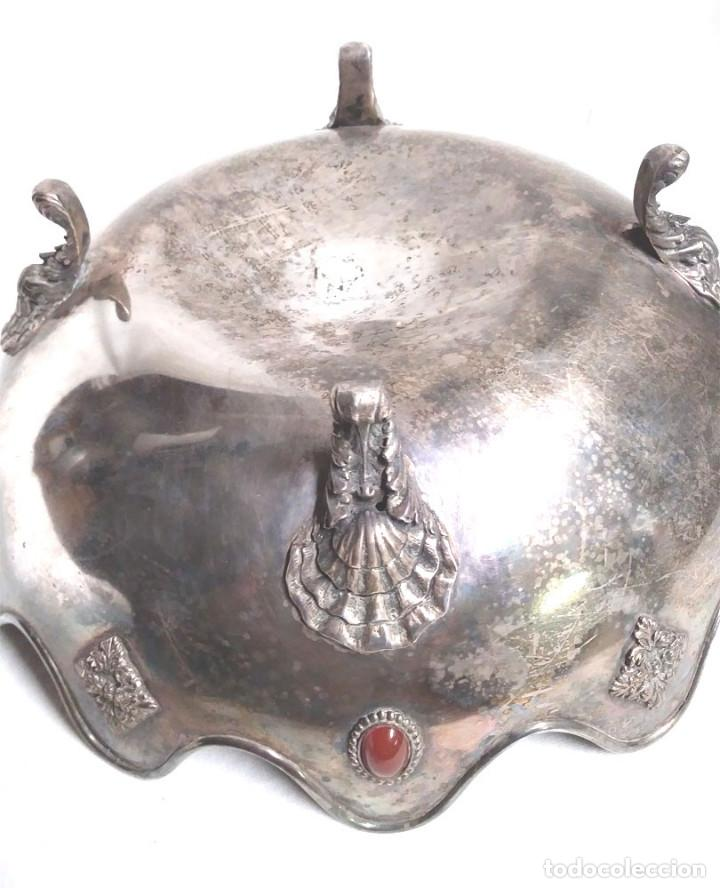 Antigüedades: Bandeja baño de Plata, con pedreria, buen estado. Med. 26 x 9 cm - Foto 6 - 139492002
