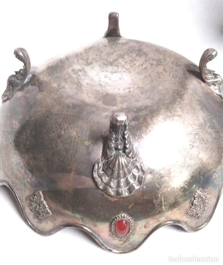Antigüedades: Bandeja baño de Plata, con pedreria, buen estado. Med. 26 x 9 cm - Foto 7 - 139492002