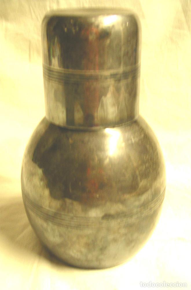 LICORERA O PETACA PUNZONADA MENESES MADRID. MED. 10 X 18 CM (Antigüedades - Platería - Bañado en Plata Antiguo)