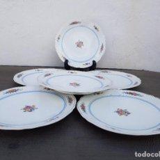 Antigüedades: JUEGO 6 PLATOS DE PORCELANA FINA FRANCESA SELLADO LIMOGES. Lote 139518566