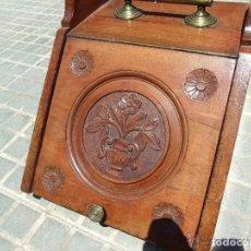 Antigüedades: CARBONERA INGLESA DE CAOBA CON TALLA. Lote 139519018