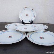Antigüedades: JUEGO 6 PLATOS DE PORCELANA FINA FRANCESA SELLADO LIMOGES. Lote 139519778