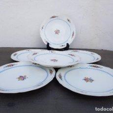 Antigüedades: JUEGO 6 PLATOS DE PORCELANA FINA FRANCESA SELLADO LIMOGES. Lote 139520874