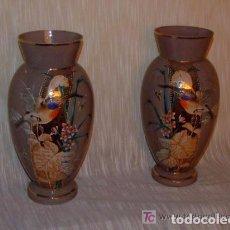 Antigüedades: 2 JARRONES OPALINA COLOR GRIS CON DIBUJOS ESMALTADOS. Lote 139527782