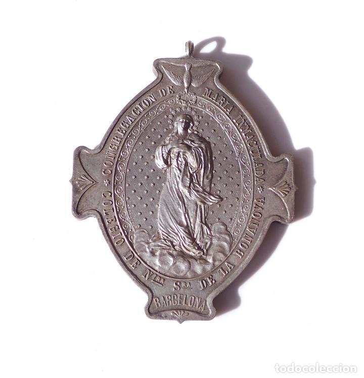 Antigüedades: COLEGIO NUESTRA SEÑORA DE LA BONANOVA - CONGREGACION DE MARIA INMACULADA 7 CM DE ALTA - Foto 2 - 139530122