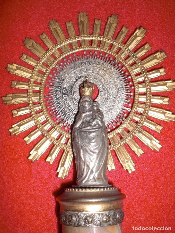 VIRGEN DEL PILAR EN PLATA ANTIGUA Y MARMOL 24 CM. DE ALTURA (Antigüedades - Religiosas - Orfebrería Antigua)