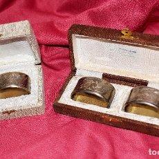 Antigüedades: PRECIOSO JUEGO DE TRES SERVILLETEROS ANTIGUOS EN SUS ESTUCHES. Lote 139566866