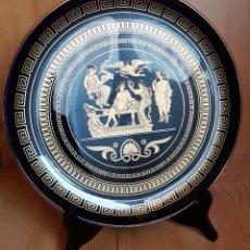 Antigüedades: PLATO DE PORCELANA HECHO A MANO EN GRECIA, CON ORO 24K. Lote 139568998