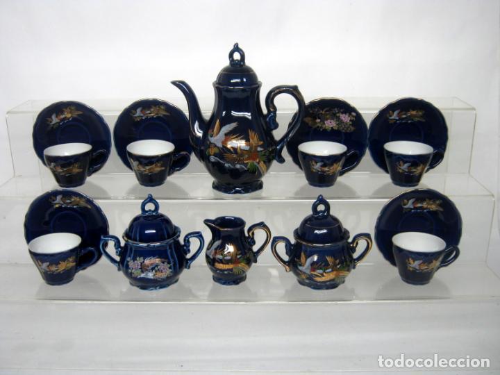 JUEGO DE CAFÉ PARA 6 DE PORCELANA JAPONESA AZUL EIHO GRADE + REGALO (Antigüedades - Porcelana y Cerámica - Japón)