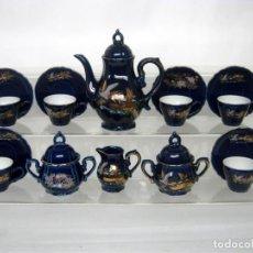 Antigüedades: JUEGO DE CAFÉ PARA 6 DE PORCELANA JAPONESA AZUL EIHO GRADE + REGALO. Lote 139571078