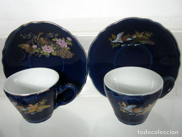 Antigüedades: JUEGO DE CAFÉ para 6 DE PORCELANA JAPONESA AZUL EIHO GRADE + regalo - Foto 4 - 139571078