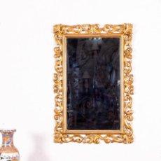 Antigüedades: ESPEJO ANTIGUO CON MOTIVOS FLORALES EN PAN DE ORO. Lote 139626574