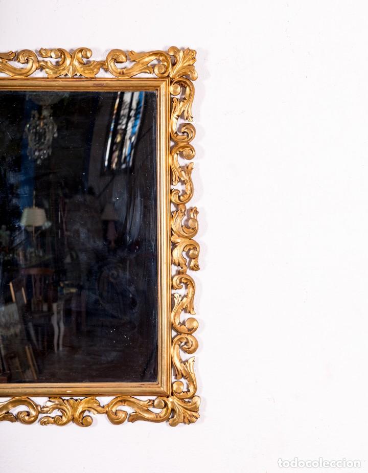 Antigüedades: Espejo Antiguo Con Motivos Florales En Pan De Oro - Foto 3 - 139626574