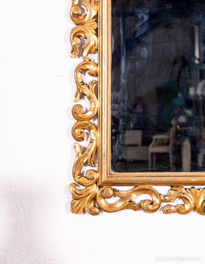 Antigüedades: Espejo Antiguo Con Motivos Florales En Pan De Oro - Foto 4 - 139626574