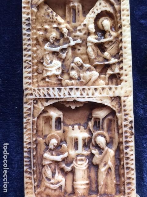Antigüedades: CRUZ TALLA EN BAJO-RELIEVE ENMARCADO. RESINA O SIMILAR- RICO DETALLE. - Foto 10 - 176270017