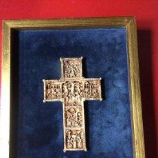 Antigüedades: CRUZ TALLA EN BAJO-RELIEVE ENMARCADO. RESINA O SIMILAR- RICO DETALLE.. Lote 176270017