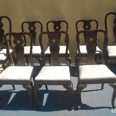 Antigüedades: CONJUNTO COMEDOR 2 SILLONES 6 SILLAS Y MESA MADERA CAOBA DE CUBA. Lote 139666994
