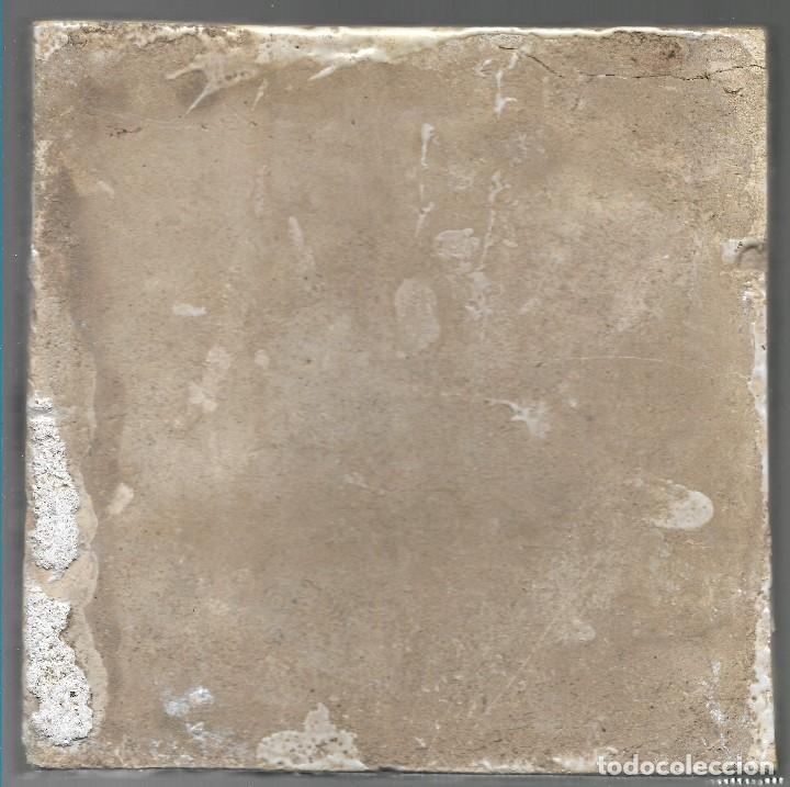 Antigüedades: LADRILLO, BALDOSA, RACHOLA O AZULEJO. CAZADOR, ORIGINAL, SIGLO XIX O ANTERIOR, 20 X 20 CM. - Foto 2 - 139685522