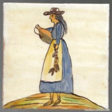 Antigüedades: LADRILLO, BALDOSA, RACHOLA O AZULEJO. MUJER CON CANTARO, ORIGINAL, SIGLO XIX O ANTERIOR, 20 X 20 CM.. Lote 139685570