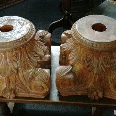 Antigüedades: CAPITELES DE MADERA DURA TALLADOS J M. Lote 139696400
