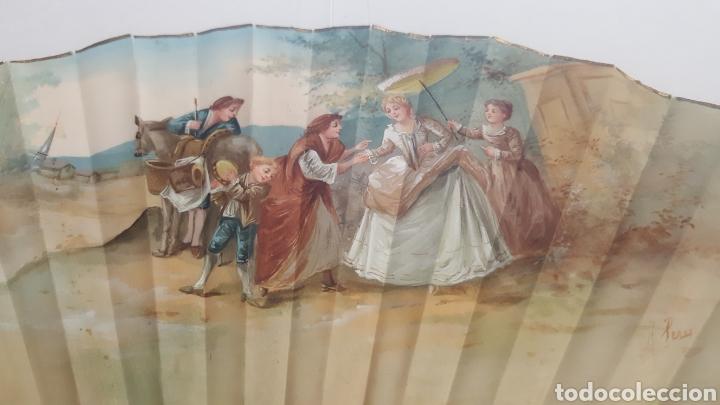 Antigüedades: Abanico pintado y firmado s.XIX varillaje en nacar y encaje. - Foto 2 - 139707260