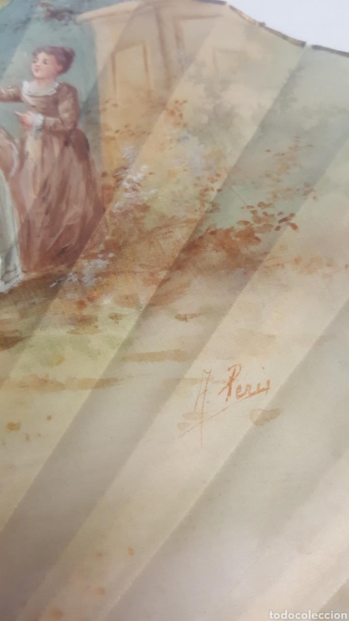 Antigüedades: Abanico pintado y firmado s.XIX varillaje en nacar y encaje. - Foto 7 - 139707260