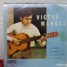 Discos de vinilo: ** VICTOR MANUEL - LA ROMERIA / EL MENDIGO / EL ABUELO VITOR / PAXARINOS - EP AÑO 1970 - PROMO. Lote 139710350