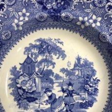 "Antigüedades: PLATO HONDO PORCELANA INGLESA STAFFORDSHIRE DAVENPORT ""CHINESE PASTIME"". Lote 139718601"