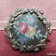 Antigüedades: BROCHE / ALFILER / PIN...FLORES PINTADAS..XIX. Lote 139723046