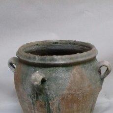 Antigüedades: ORZA TINAJA DE CUATRO ASAS MUY ANTIGUA, POSIBLEMENTE MÁS DE 100 AÑOS. VITRIFICADA. Lote 139740065