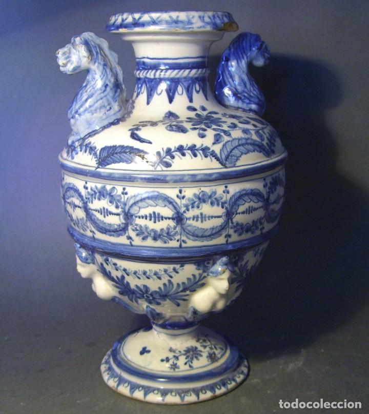 Antigüedades: GRAN Y ROTUNDO JARRÓN CERÁMICA DE TALAVERA XIX-XX - Foto 3 - 139746554