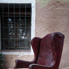 Antigüedades: SILLON PIEL OREJERO BUTACA ANTIGUO, TRANSPORTE GRATIS COMUNIDAD MADRID.. Lote 139751598