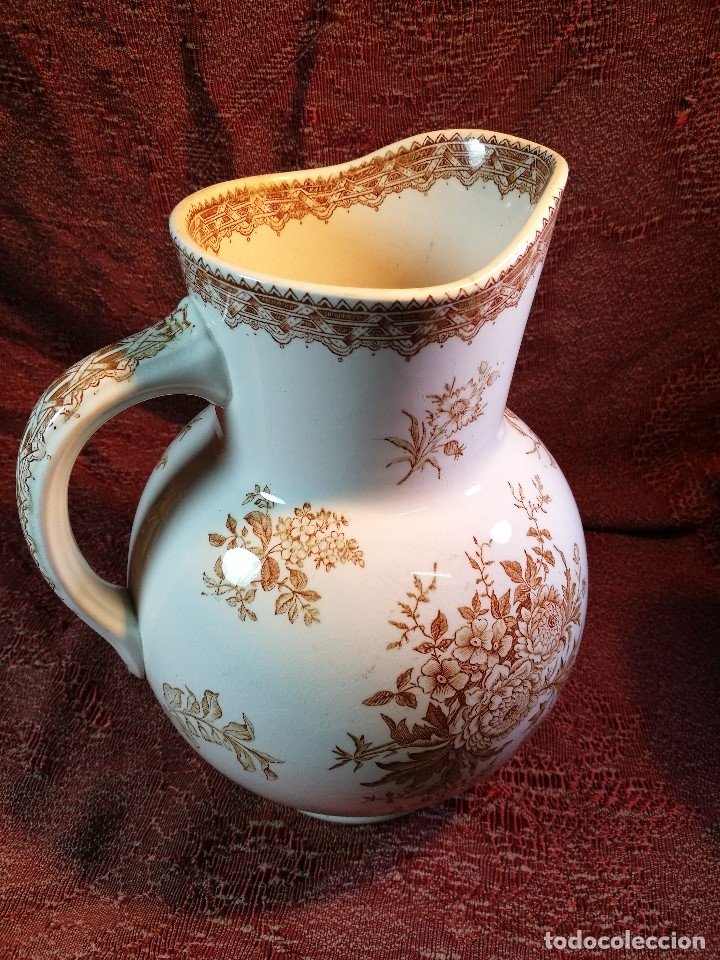 Antigüedades: jarra de agua aguamanil en porcelana holandesa societe ceramique Maestrich -dahlia bruin 1890-1910 - Foto 14 - 139752106