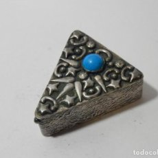 Antigüedades: CAJA, CAJITA, PASTILLERO, RAPE, PLATA CONTRASTADA, TURQUESA O SIMIL.. Lote 139770374