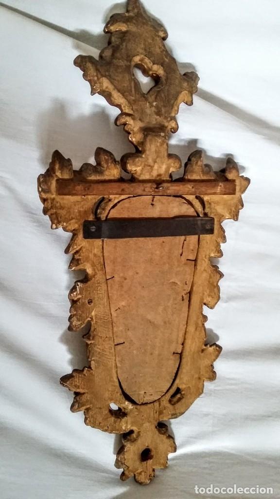 Antigüedades: Antiguo espejo cornucopia en madera tallada de finales del XIX - Foto 6 - 139779202