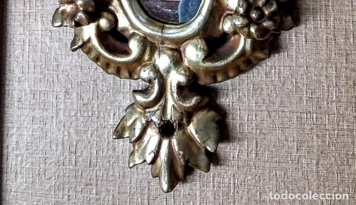Antigüedades: Antiguo espejo cornucopia en madera tallada de finales del XIX - Foto 5 - 139779202