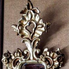 Antigüedades: ANTIGUO ESPEJO CORNUCOPIA DE MADERA TALLADA EN DORADO. ELEGANTE ESTILO. Lote 139779202
