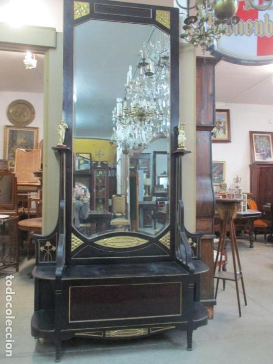 Antigüedades: Mueble Recibidor Modernista - Joan Busquets - Banco, Consola - Madera de Caoba Dorada - Gran Espejo - Foto 10 - 139784326