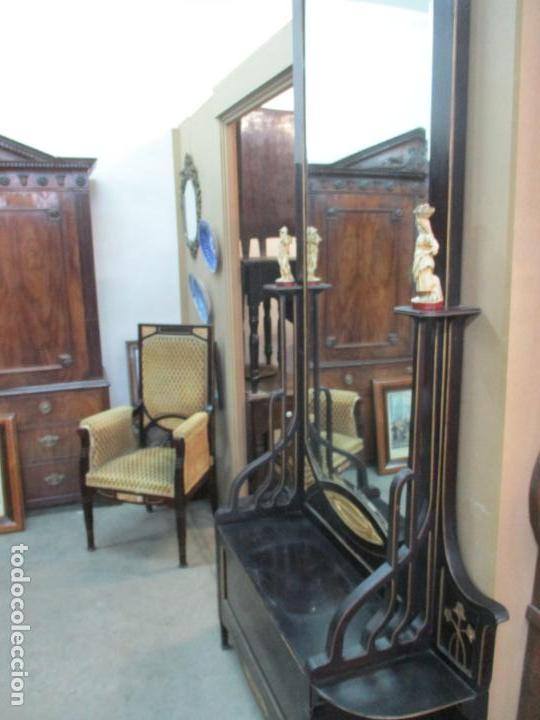 Antigüedades: Mueble Recibidor Modernista - Joan Busquets - Banco, Consola - Madera de Caoba Dorada - Gran Espejo - Foto 17 - 139784326
