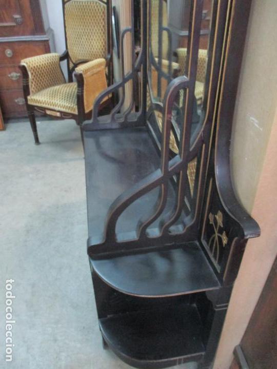 Antigüedades: Mueble Recibidor Modernista - Joan Busquets - Banco, Consola - Madera de Caoba Dorada - Gran Espejo - Foto 18 - 139784326