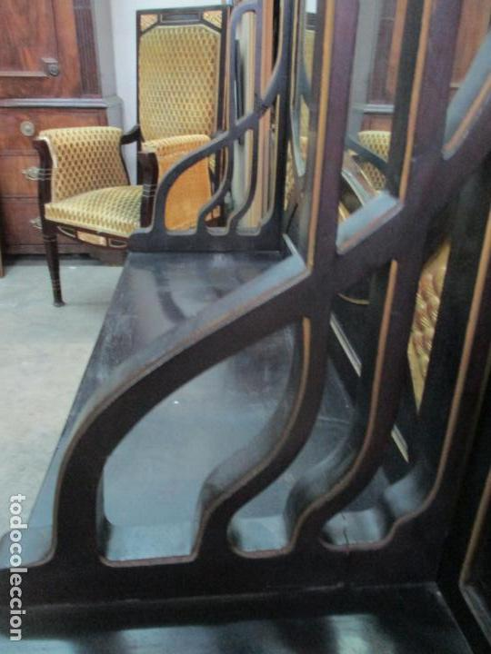 Antigüedades: Mueble Recibidor Modernista - Joan Busquets - Banco, Consola - Madera de Caoba Dorada - Gran Espejo - Foto 19 - 139784326