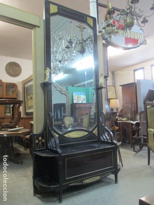 Antigüedades: Mueble Recibidor Modernista - Joan Busquets - Banco, Consola - Madera de Caoba Dorada - Gran Espejo - Foto 27 - 139784326