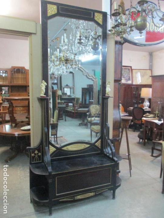 Antigüedades: Mueble Recibidor Modernista - Joan Busquets - Banco, Consola - Madera de Caoba Dorada - Gran Espejo - Foto 28 - 139784326