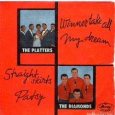 Discos de vinilo: THE DIAMONDS - THE PLATTERS (COMPARTIDO) TEMAS EN PORTADA (EP 1959). Lote 139789806