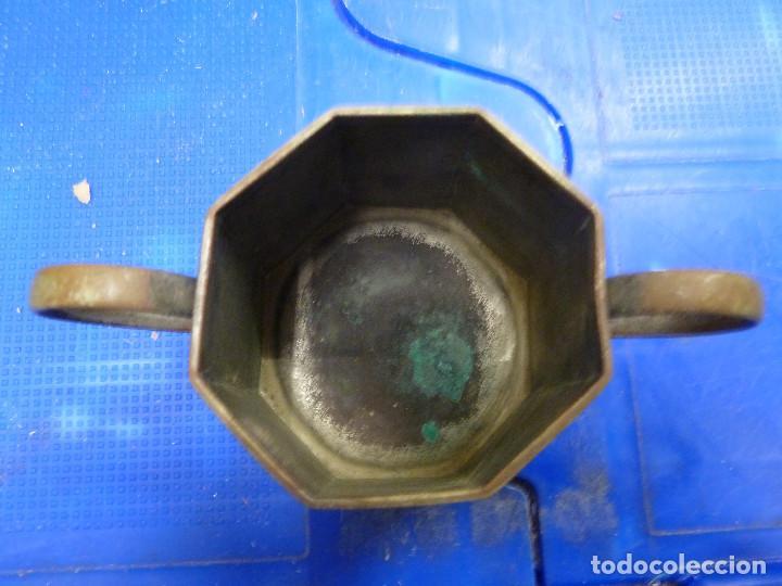 Antigüedades: ANTIGUO JUEGO DE TETERA Y AZUCARERO METALICOS CON FORMA OCTOGONAL - Foto 9 - 139811362